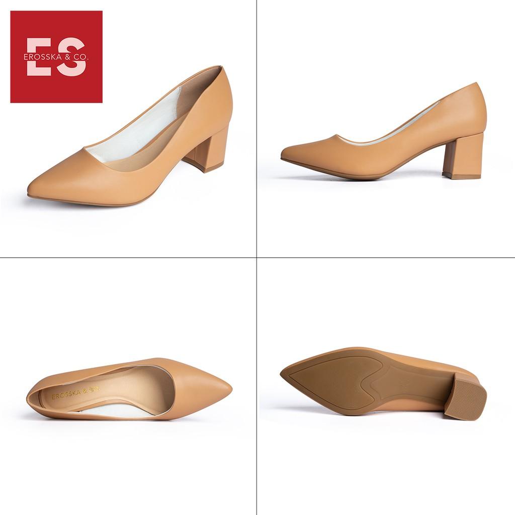 Giày cao gót Erosska thời trang mũi nhọn kiểu dáng cơ bản cao 5cm màu bò _ EP011