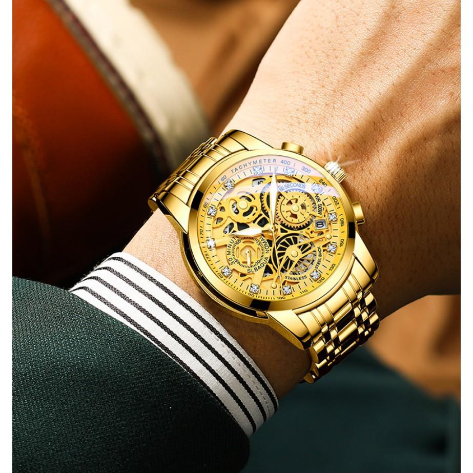 Đồng hồ nam dây thép giả cơ siêu đẹp RZY068 (fullbox, tặng pin)