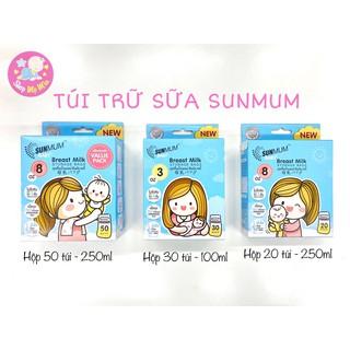 Túi trữ sữa Sunmum 100ml, 250ml Thái Lan, 3 đường khóa zip chắc chắn