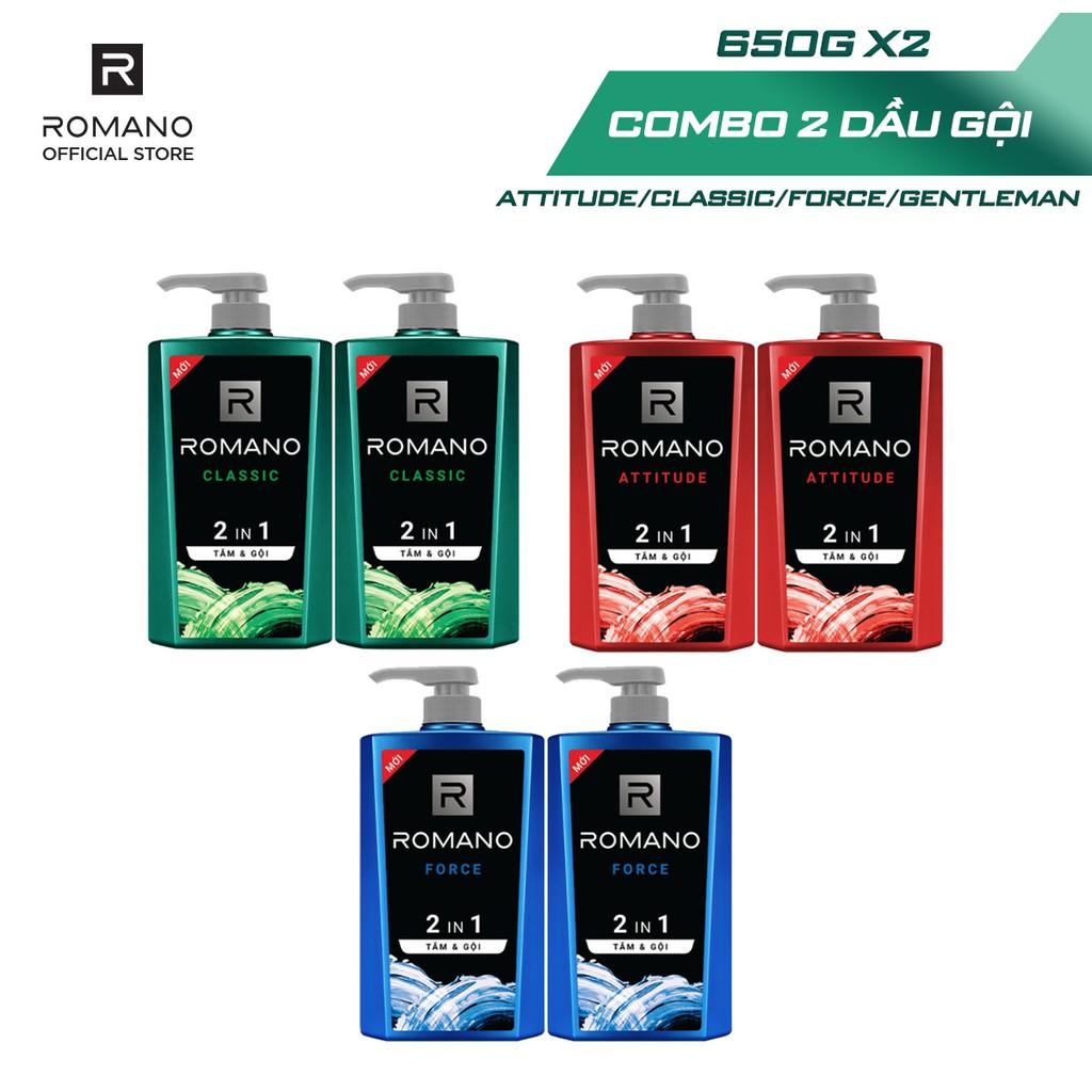Coupon sản phẩm [Mã FMCGMALL250 -8% ĐH250k]Combo 2 Tắm gội 2 trong 1 Romano 650g/chai