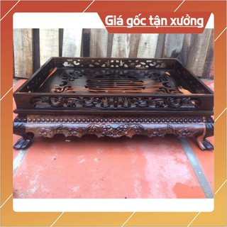 [Nội Thất Mộc] Khay Trà Chân Qùy Bằng Gỗ mun-Khay trà rồng trầu gỗ mun