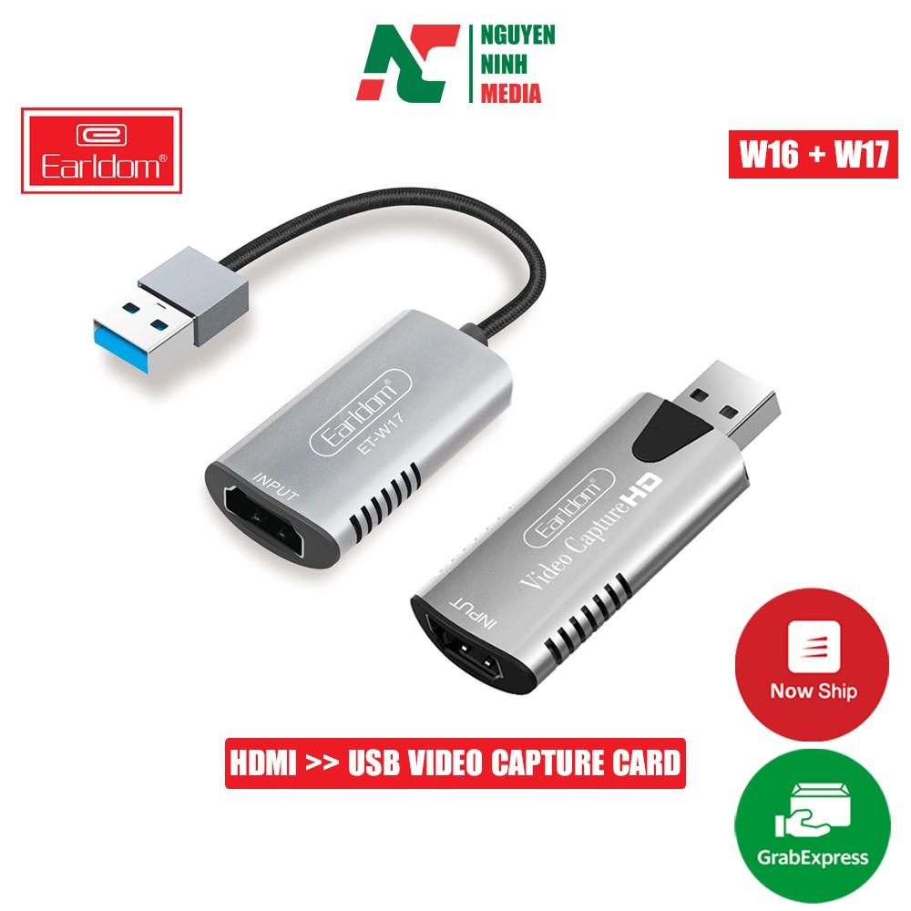Cáp HDMI to USB 3.0 Video Capture Earldom ET-W17 & ET-W16 - Hỗ Trợ Live Stream, Ghi Hình Từ Điện Thoại, Camera, PS4, XBO