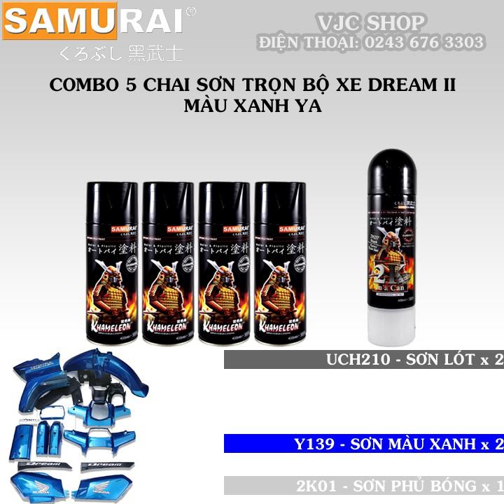 Combo 5 chai sơn Samurai trọn bộ xe Dream II màu xanh