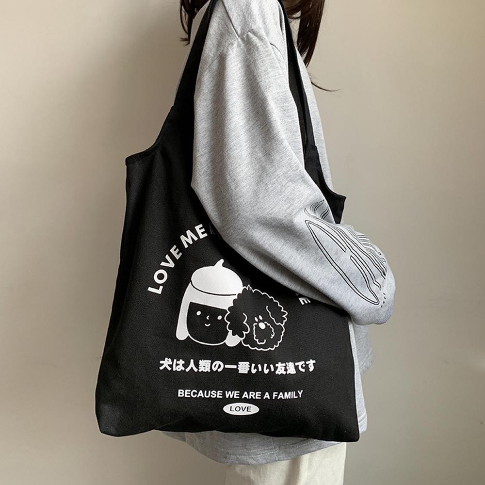 Túi vải canvas phong cách Nhật Bản in họa tiết xinh xắn hợp thời trang 31948