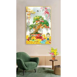 Tranh treo tường trang trí tết Hình cây lựu thư pháp chữ Sống bóng kiếng hoặc canvas cay luu 140x210 cm 11-12-2020 TG