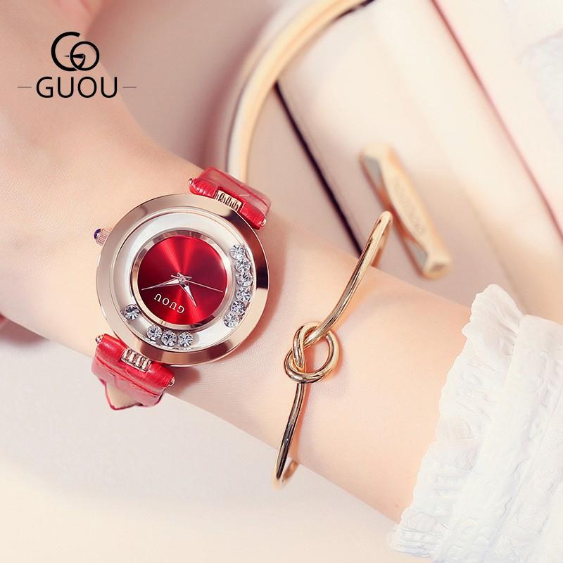 Đồng hồ nữ GUOU đá trượt mặt 32mm