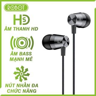 [Bản nâng cấp] Tai nghe nhét tai có dây Robot RE101S âm bass mạnh mẽ, chất lượng âm thanh HD, jack cắm 3.5mm gập 90 độ