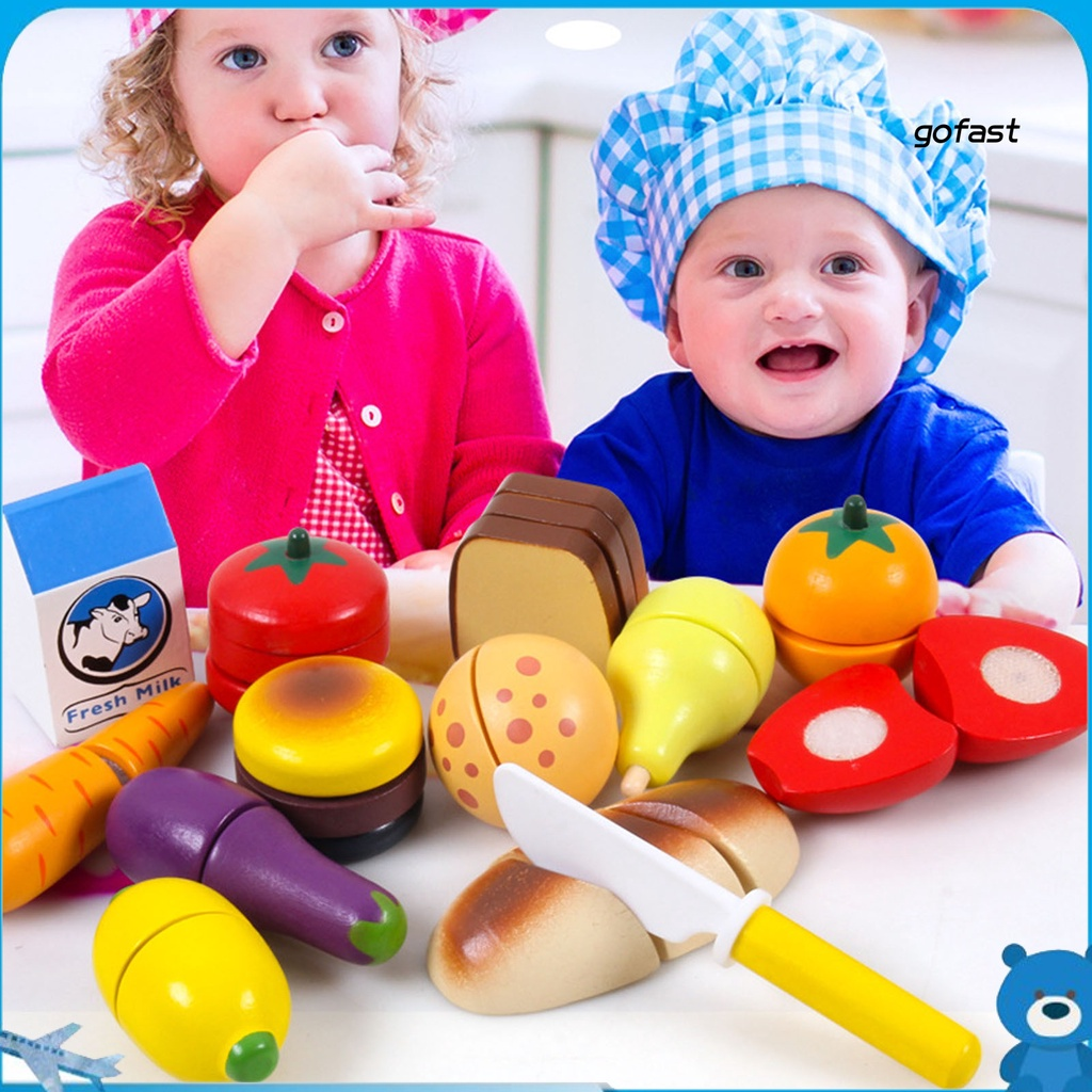 GO-Cartoon Vegetable Fruit Bread Milk Simulation Detachable Kids Educational Toy