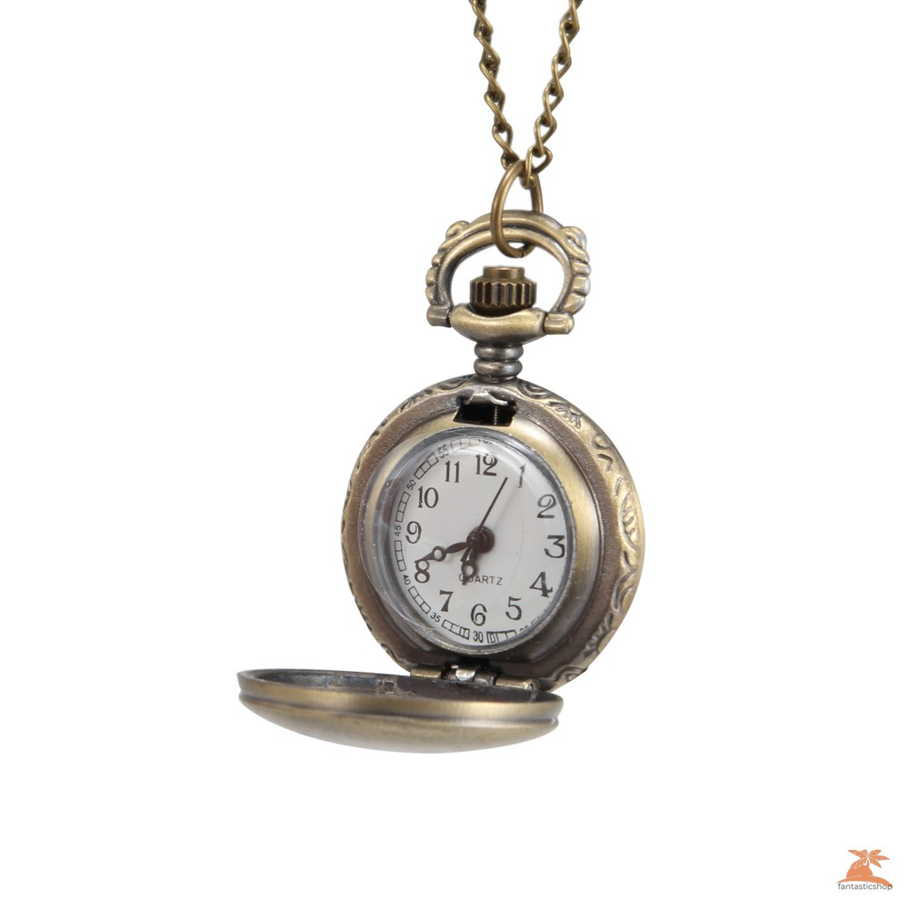 #Đồng hồ bỏ túi# 1pc Men Women Pocket Watch Words Carved Case with Chain