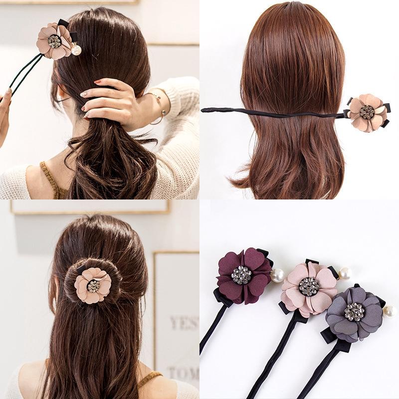 Dụng cụ búi tóc đính hoa và đá phong cách Hàn Quốc