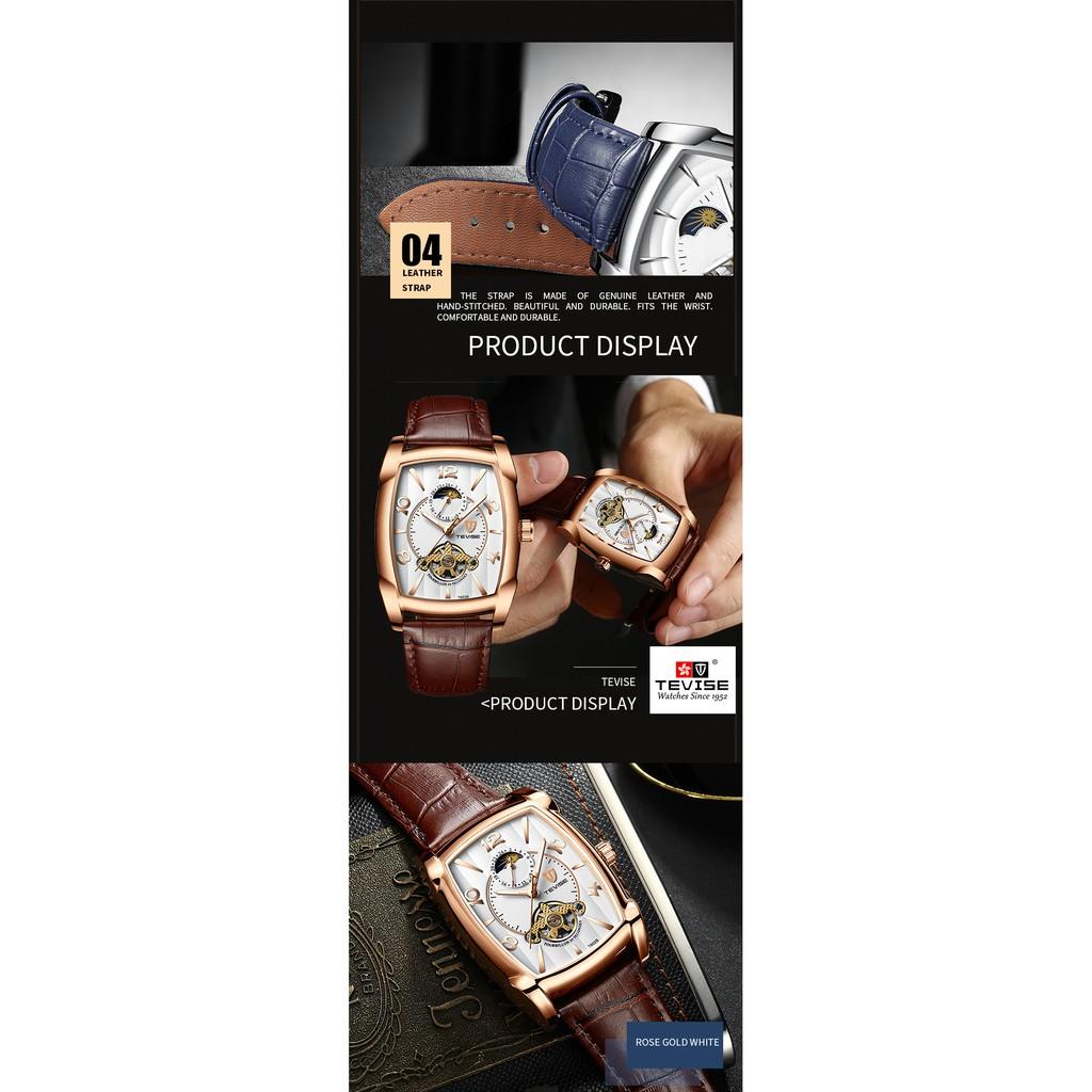 Đồng hồ nam cơ lộ máy mặt vuông Tevise T802B dây da chính hãng