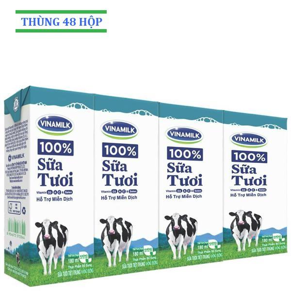 Sữa tươi Vinamilk không đường 180ml: Thùng 48 Hộp