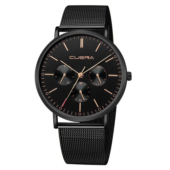 Đồng hồ thời trang nam CUENA Chính Hãng Doanh Nhân 2019 Dây Thép mành cao cấp CU8004