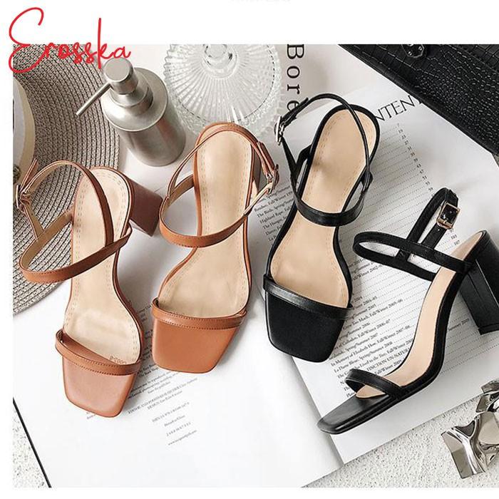 Hình ảnh Giày Sandal Nữ Thời Trang Erosska 5cm Mũi Vuông - EM019 - Màu Nude-2