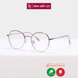 Gọng kính cận kim loại mắt tròn Lilyeyewear nhiều màu freesize - 72319