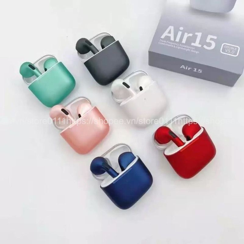 Tai nghe TWS Air 15- Tai nghe bluetooth Air 15 bản cao cấp, đổi tên, định vị, hỗ trợ đàm thoại cho IOS & Android