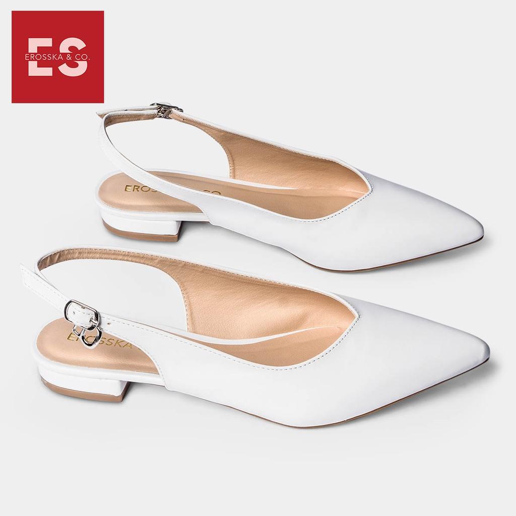 Giày cao gót Erosska thời trang mũi nhọn phối dây hở gót cao 2cm màu trắng _ EL001