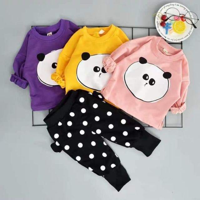 Bộ quần áo gấu trúc chấm bi LL393 cho bé trai và gái