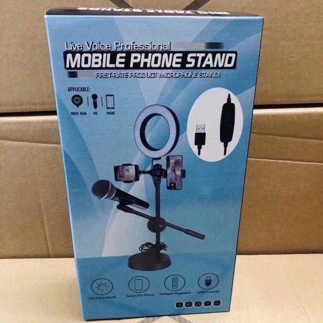 Chân đế kẹp mic có đèn led hỗ trợ sáng livestream