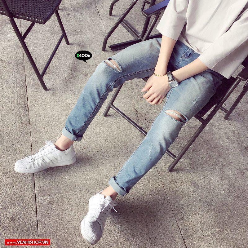 [Yeah1Shop]- Quần Jeans dài xanh rách gối D019