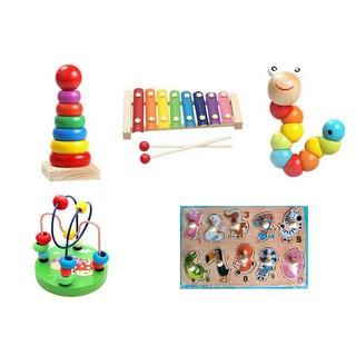 Sét combo 5 món đồ chơi gỗ phát triển tư duy – núm số – sâu – luồn hạt – đàn – cầu vồng
