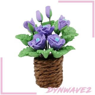 Bộ 2 Lọ Hoa Tulip Giả Tỉ Lệ 1: 12 Trang Trí Nhà Búp Bê