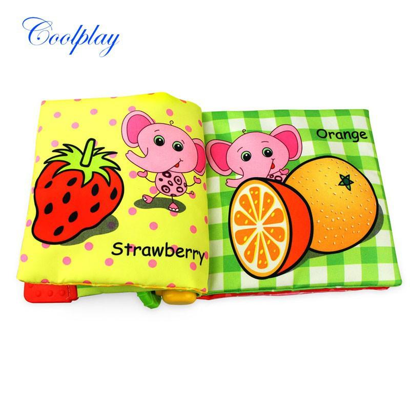[Nhập TOYAPR10K giảm ngay 10K]Sách vải cho bé từ 0-36 tháng có nhạc và chủ đề hình trái cây