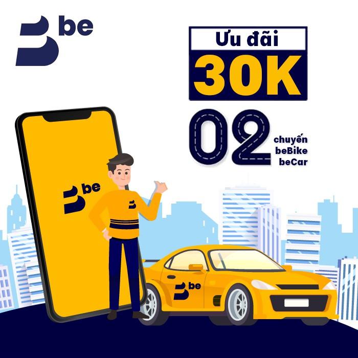 Gói giảm giá 30k x 2 chuyến beBike, beCar trên ứng dụng be
