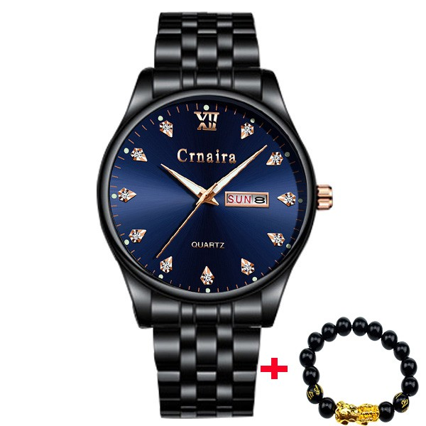 Đồng hồ nam CRNAIRA C999 doanh nhân dây thép cao cấp + Tặng vòng tay cao cấp
