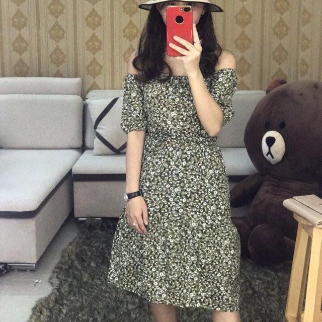 Đầm hoa bẹt vai