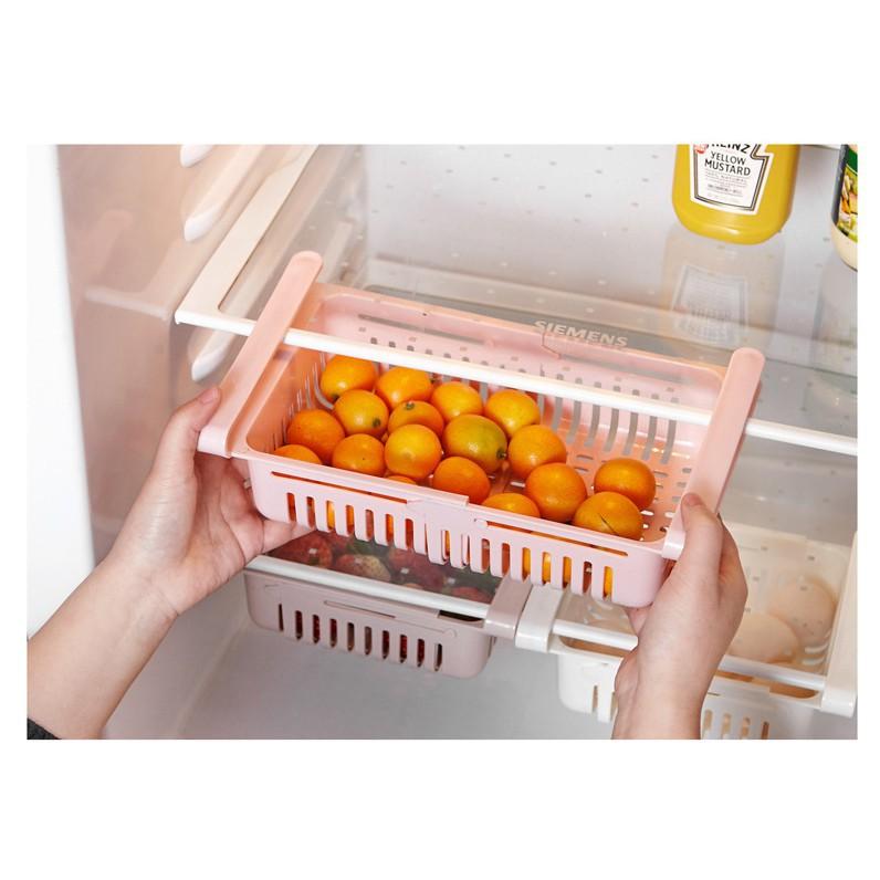 Bộ 2 Khay Rổ Nhựa Kéo Dài Đựng Thức Ăn Thực Phẩm Trong Tủ Lạnh Thông Minh Tiện Dụng