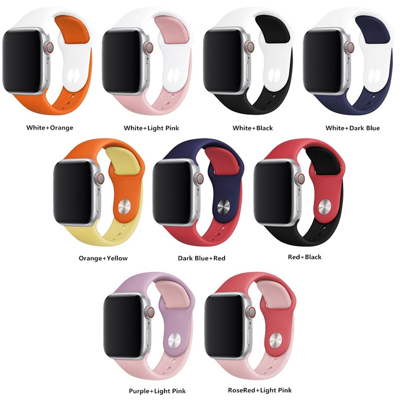 Dây đeo silicon thay thế cho iWatch 38mm 40mm 42mm 44mm Duo Teng