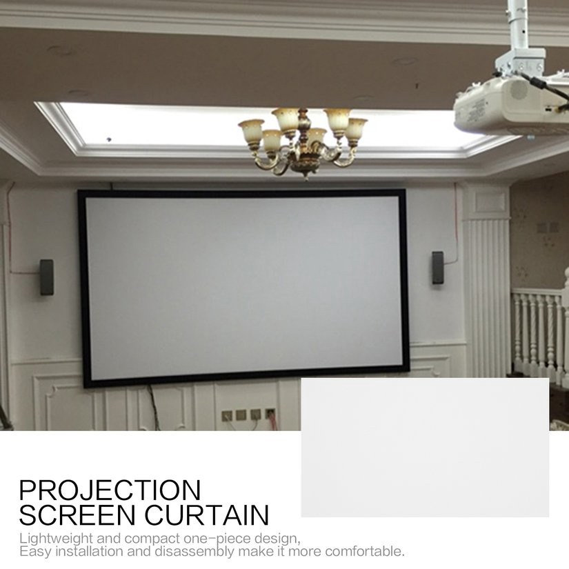 8.15【HOT】60 Inch Projection Screen Curtain Non-Woven Fabric White Soft