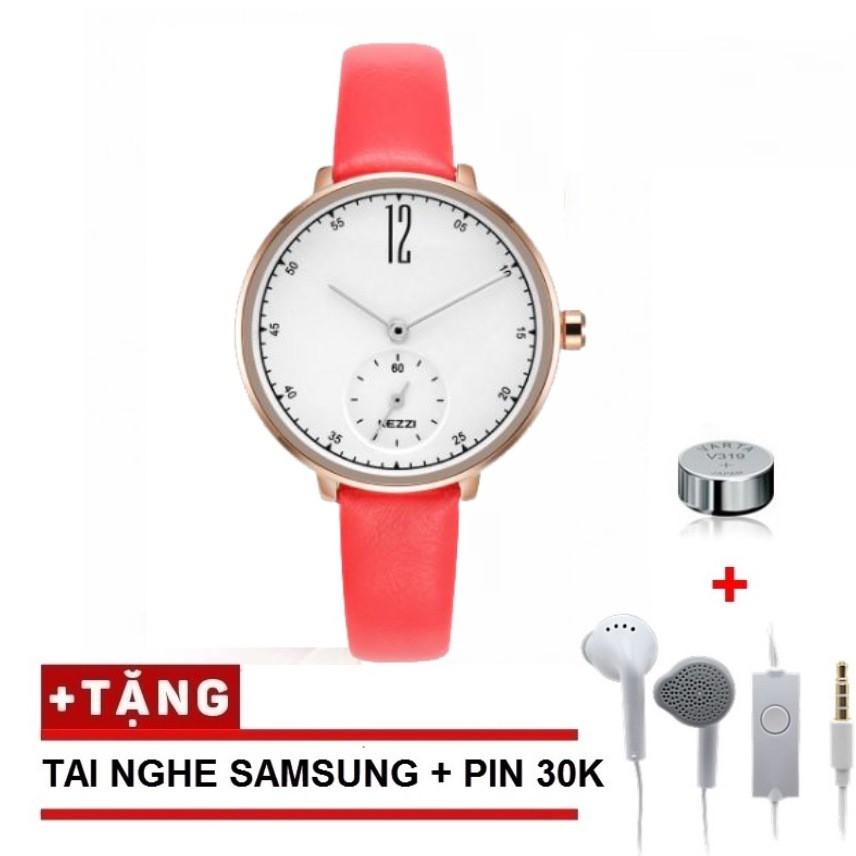Đồng hồ nữ Kezzi 1732 dây da cao cấp + Tặng kèm tai nghe chính hãng