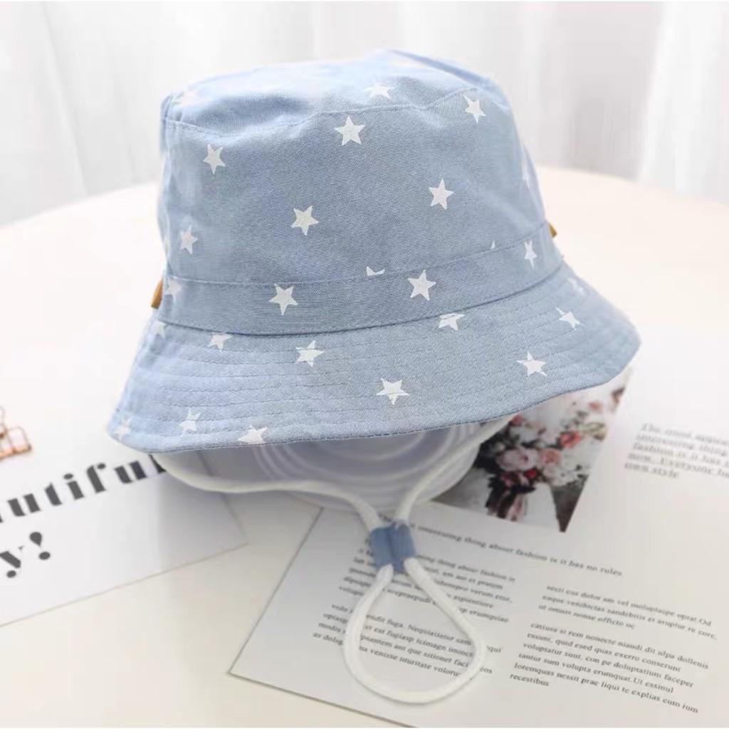 Mũ bucket demin thời trang trẻ em tai cụp hình sao