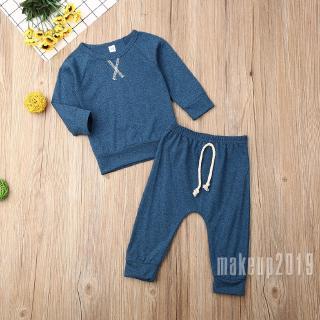 Mu♫-Newborn Baby Girl Boy Long Sleeve Tops T-shirt Pants Leggings Outfits Clothes Set