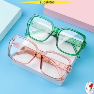 🌸EUTUS🌸 Fashion Anti-Blue Light Glasses Computer Eye Protection Flowers Eyeglasses Women Portable Oversized Square Vintage Ultra Light Frame