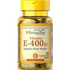 Viên uống dưỡng ẩm cho da, chống lão hóa da bổ sung Vitamin E 400 IU 50 viên Puritan's Pride
