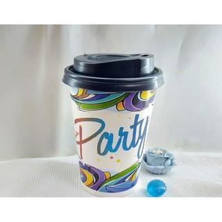 50 Ly Giấy In Hình Party 12oz 300ml Có Nắp Ly giấy cafe Ly giấy đựng cà phê Cốc giấy Cốc giấy cafe thumbnail