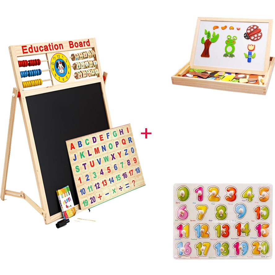 """Bộ 3 sản phẩm """"Vui mà Học"""" (bảng từ 2 mặt , tranh gỗ ghép hình , bộ 20 số có núm) - 2701388 , 808567596 , 322_808567596 , 188000 , Bo-3-san-pham-Vui-ma-Hoc-bang-tu-2-mat-tranh-go-ghep-hinh-bo-20-so-co-num-322_808567596 , shopee.vn , Bộ 3 sản phẩm """"Vui mà Học"""" (bảng từ 2 mặt , tranh gỗ ghép hình , bộ 20 số có núm)"""