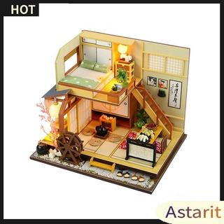 Astarit.Japan Style Building Handmade Assembly Wood Hut DIY Miniature Dollhouse
