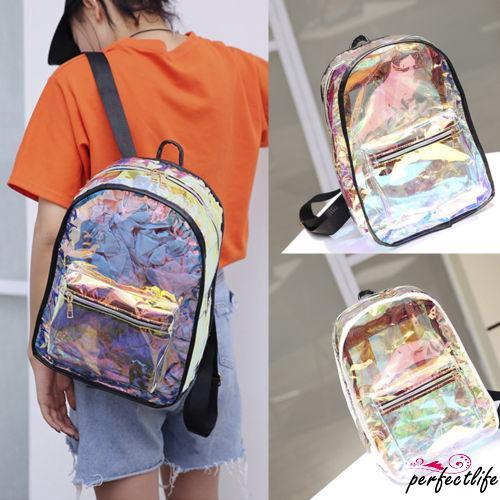★HZLFashion Women Clear Tote Backpack Cross Body Shoulder Jelly Bag Laser Backpack