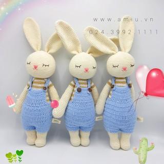 Thỏ Lala Quần Yếm – Thú len nhồi bông cao cấp AMiu Việt Nam