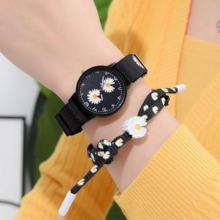 Đồng hồ/ Vòng đeo tay vải canvas mặt hình hoa cúc GD dễ thương dành cho nữ