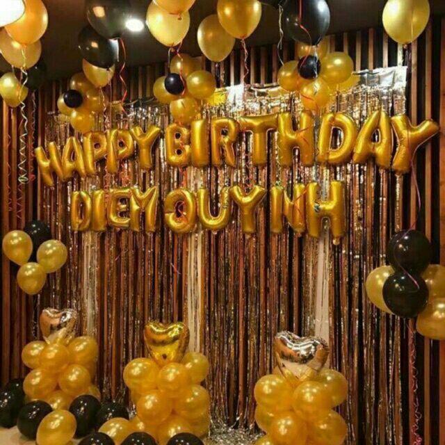 Set bong sinh nhật tông màu vàng đen + 3 rèm tặng bơm băng keo