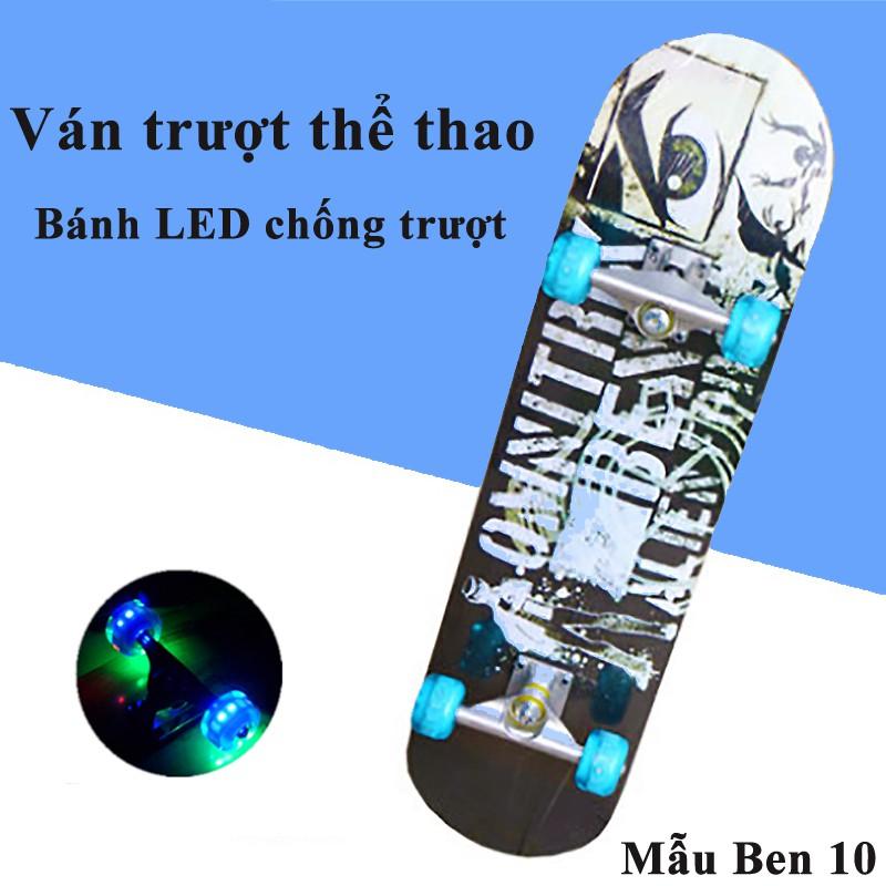 Ván Trượt Skateboard Người Lớn Thể Thao Gỗ Phong Cao Cấp Siêu Bền Mặt Nhám Bánh Cao Su LED Chống Trượt Siêu Đẳng Ván Đẹp
