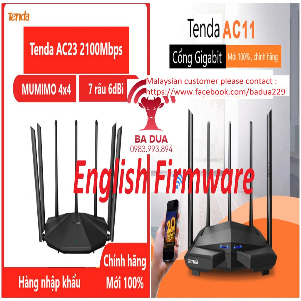 Bộ Phát Wifi Router Wifi Tenda AC23 AC2100 , AC11 AC5 AC5S AC6 AC7 AC1200 , F6 , AX1803 AX1800