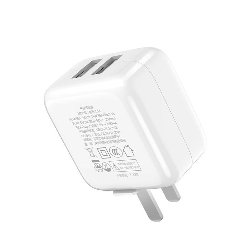 Củ Sạc Nhanh Hoco C54 2 Cổng USB [Hàng Chính Hãng]