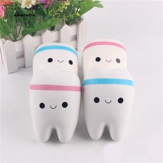AMA♥Squishy Cartoon Smiley Teeth Slow Rising Soft Toy Charm Pendant with Ball Chain