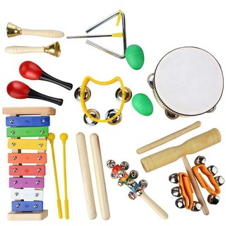 Musical Instruments Set,20 PCS Wooden Percussion Toy Rhythm & Music Education Band Set Fun Toddlers